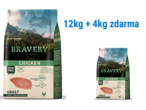 Bravery dog Adult Large/Medium grain free chicken 12 kg + 4 kg  chicken L/M   1.179