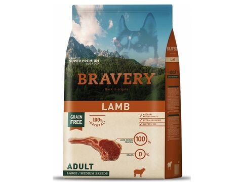 Bravery dog Adult Large/Medium grain free lamb 12 kg