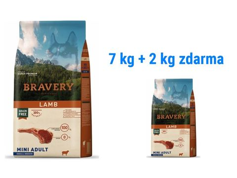 Bravery dog Adult mini grain free lamb 7 kg + 2 kg lamb  1.173