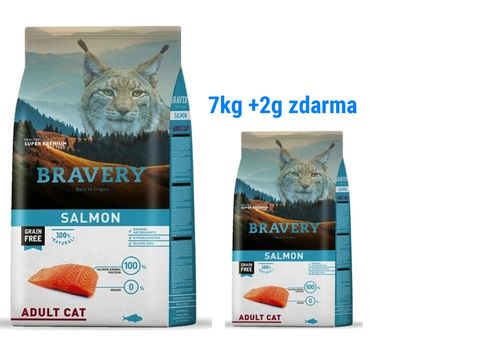 Bravery cat adult grain free salmon 7 kg + 2 kg salmon 1.160