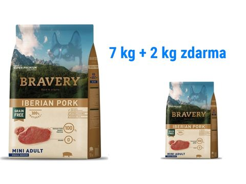 Bravery dog Adult mini grain free Iberian pork 7 kg + 2 kg pork mini 1.175