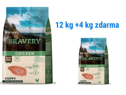 Bravery dog Puppy Large/Medium grain free chicken 12 kg + 4 kg chicken Puppy L/M  1.169
